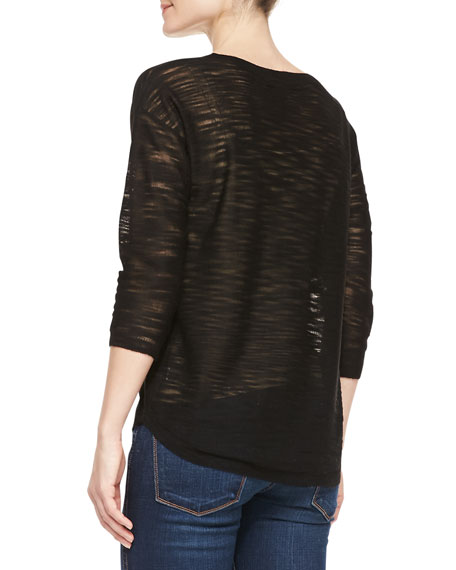 Half-Sleeve Slub Sweater, Black