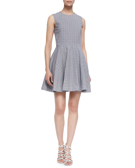 Jeannie Fit-and-Flare Sleeveless Dress, Blue/Cream
