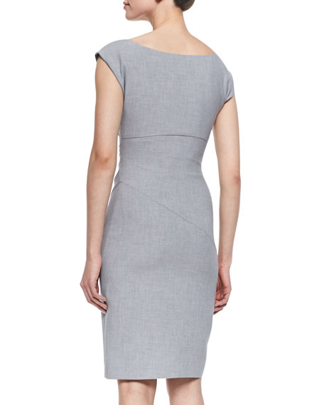 Bevin Asymmetric Ruched Dress, Heather Gray