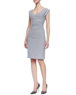 Diane von Furstenberg Bevin Asymmetric Ruched Dress, Heather Gray