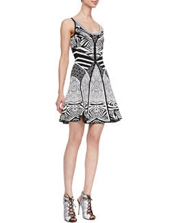 Diane von Furstenberg Fanny Sleeveless Fit-and-Flare Dress, Zebra Tattoo