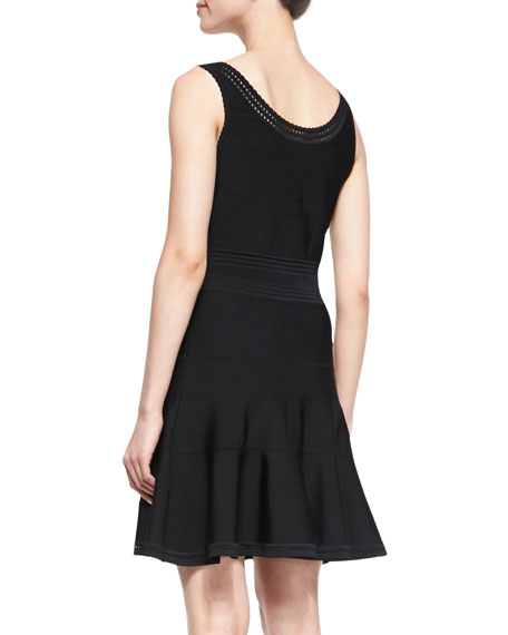 Perry Sleeveless Fit-and-Flare Dress, Black
