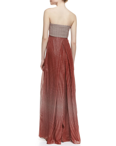Adrianna Strapless Pleated-Front Ball Gown, Lantern Dot Russe