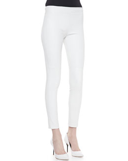 Diane von Furstenberg Kristen Skinny Cropped Leather Pants, White