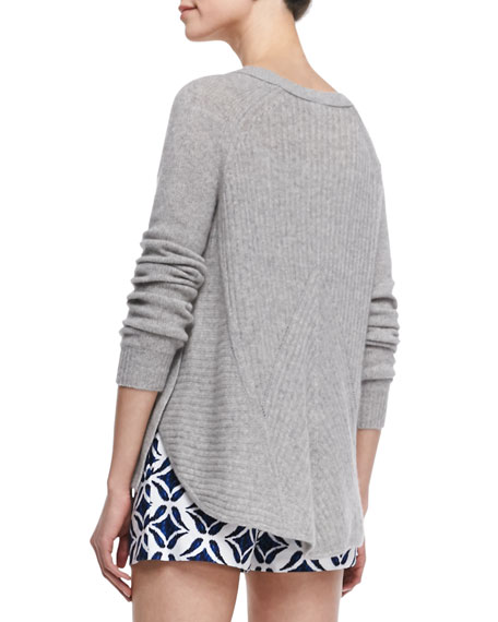 Long-Sleeve Cashmere Sweater, Heather Gray