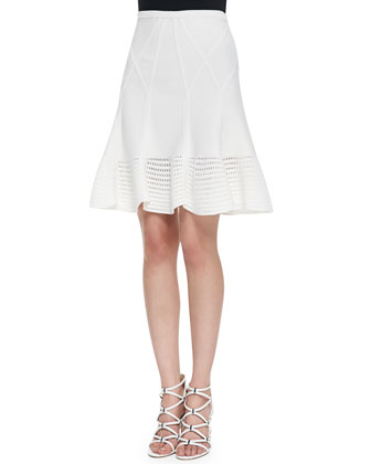 Samara Flared Crochet Hem Skirt, White