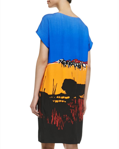 Harriet Runway Printed Shift Dress, Lion Landscape