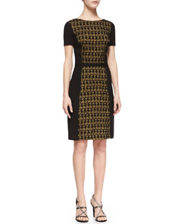 Halston Heritage Ponte Lace-Front Dress, Amber Green