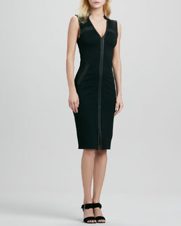 Halston Heritage Stand Collar Ponte Dress