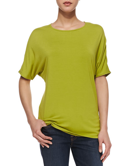 Short-Dolman-Sleeve Jersey Tee, Apple Green