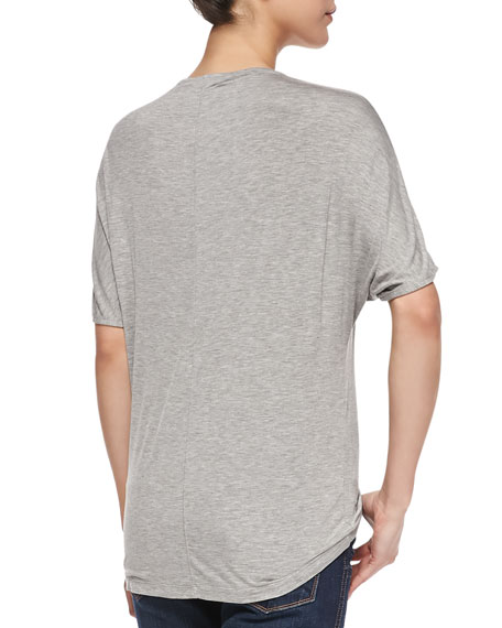 Short-Dolman-Sleeve Jersey Tee, Heather Gray