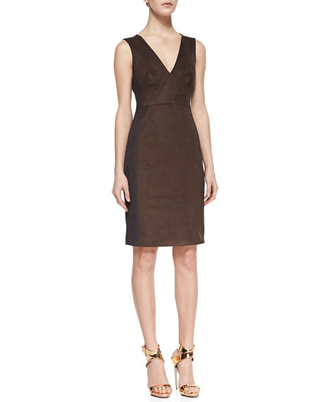 Sleeveless Sueded-Fabric Sheath Dress, Earth Charcoal