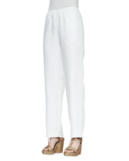 Go Silk Straight-Leg Lined Linen Pants, White, Women's
