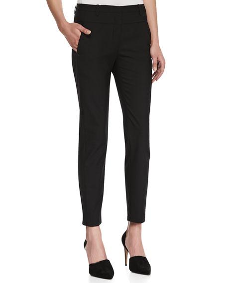 Skinny-Leg Suiting Pants, Black