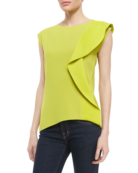 Side-Ruffle Crepe Top, Apple Green