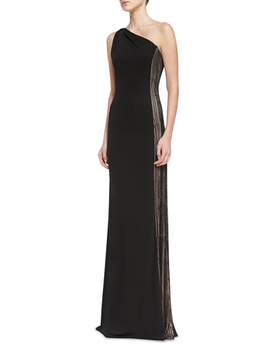 David Meister One-Shoulder Contrast Beaded-Side Gown, Black/Nude