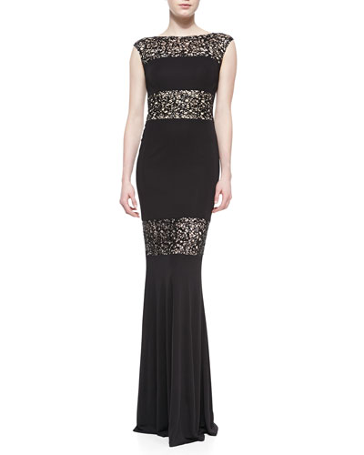 David Meister Cap-Sleeve Lace Illusion Gown, Black