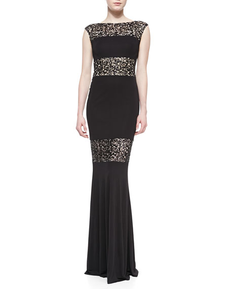 Cap-Sleeve Lace Illusion Gown, Black