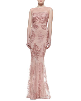 David Meister Lace Overlay Mermaid Gown, Light Pink