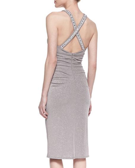 Sleeveless Shimmering Crisscross-Back Cocktail Dress, Taupe