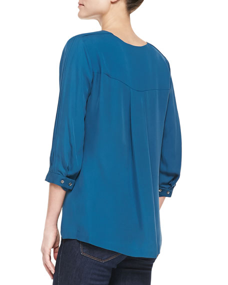 3/4-Sleeve Silk Top, Cadmium