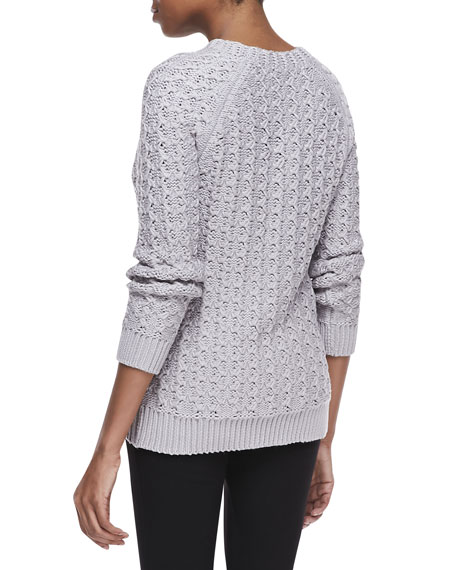 Long Sleeve Lace Stitch Sweater, Plaster Lily