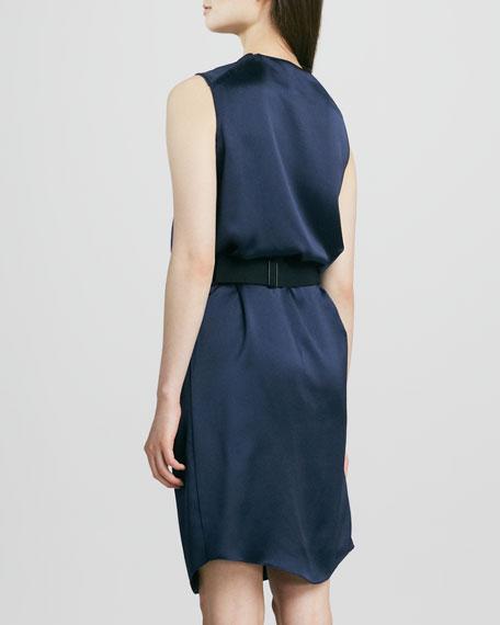 Draped Satin Belted Dress