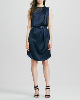 Halston Heritage Draped Satin Belted Dress