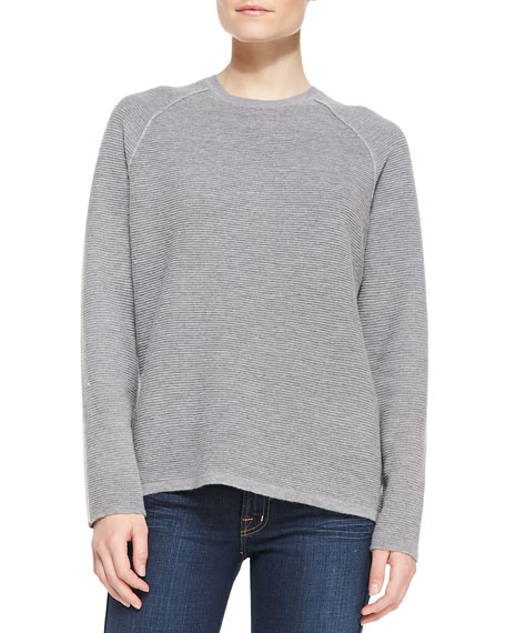 Long-Sleeve Ribbed Jacquard Sweater, Gray