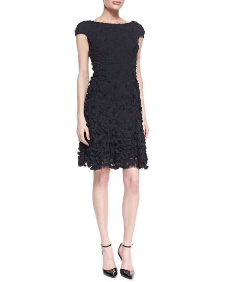 Cap-Sleeve Petal Cocktail Dress, Midnight Black
