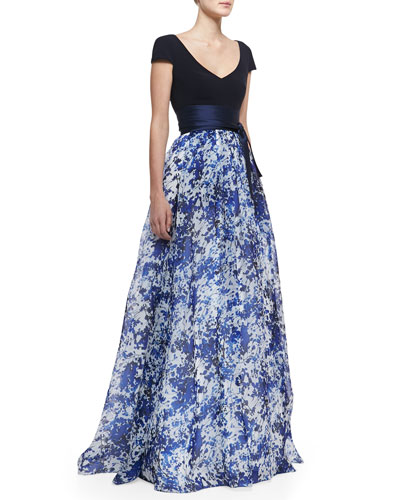 Theia Short-Sleeve Combo Floral Ball Gown, Delft Blue