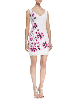 Theia by Don O'Neill Sleeveless Sequined Cherry Blossom Cocktail Dress, Pearl White