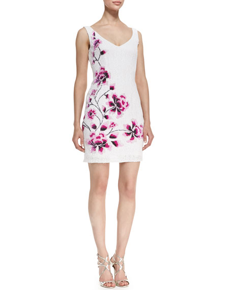 Sleeveless Sequined Cherry Blossom Cocktail Dress, Pearl White