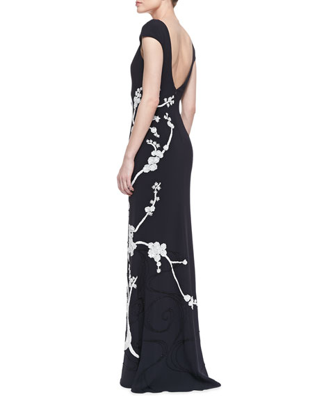 Cap-Sleeve Floral Appliqué Gown, Midnight Black