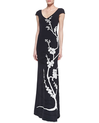 Theia Cap-Sleeve Floral Appliqué Gown, Midnight Black