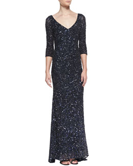 Theia by Don O'Neill 3/4-Sleeve V-Neck Sequined Gown, Carbonized Midnight