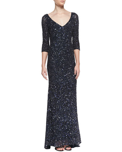 Theia 3/4-Sleeve V-Neck Sequined Gown, Carbonized Midnight