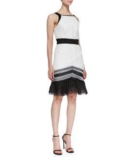 Theia Sleeveless Tiered Colorblock Cocktail Dress, Black/White