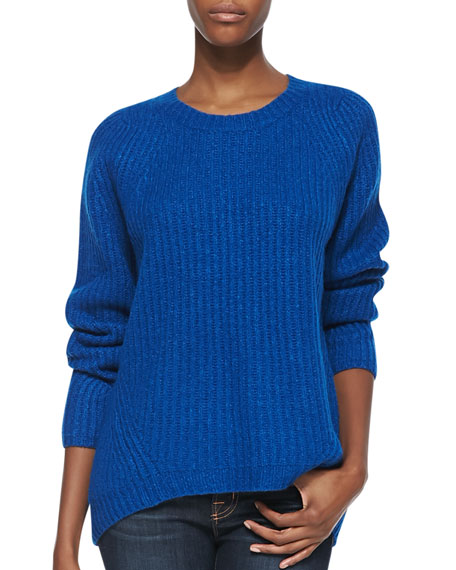 Long-Sleeve Ribbed Sweater, Sapphire