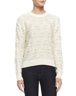 Theyskens' Theory Silk Knit Long-Sleeve Sweater, White Butter
