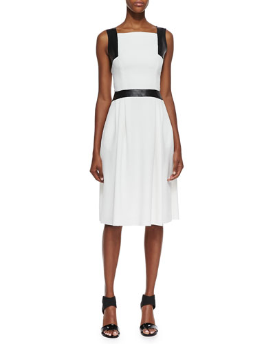 Carmen Marc Valvo Sleeveless Leather-Trim Dress, Ivory, Black