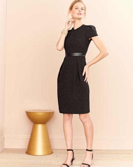 Cap-Sleeve Leather-Waist Dress, Black