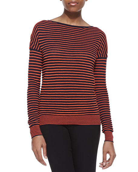 Striped Bateau Long-Sleeve Sweater, Navy/Fire