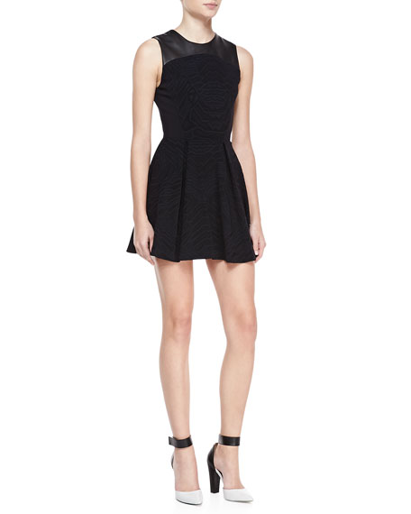 """Brittany"" Sleeveless Fit-and-Flare Dress, Black"