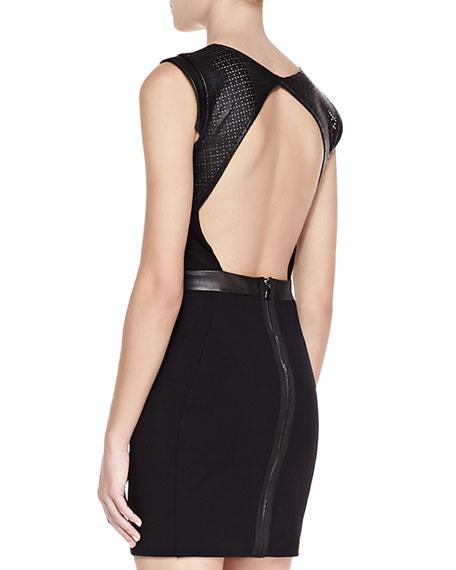 Dominique Sleeveless Cutout Back Dress, Black