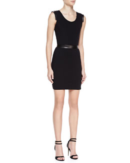 LaPina by David Helwani Dominique Sleeveless Cutout Back Dress, Black