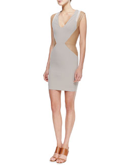 "LaPina by David Helwani ""Ali"" Sleeveless Leather Panel Dress, Multiocolor"
