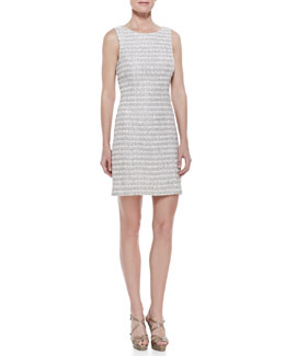 Theyskens' Theory Tweed Sleeveless Shift Dress, Beige Multi