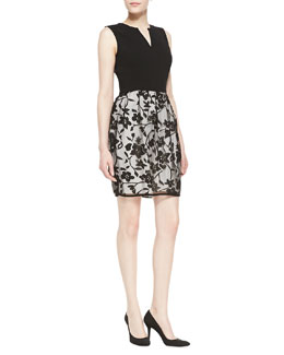 Halston Heritage Solid Knit & Floral Dress