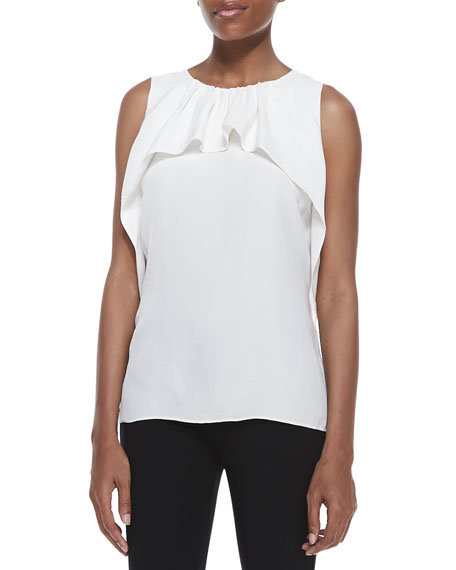 Ruffled-Drape Sleeveless Top